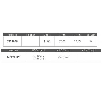 Finnord-FNI2727006-GIRANTE MERCURY 2T 3,5-3,6-4-5 HP-20