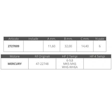 Finnord-FNI2727009-GIRANTE MERCURY 2T 6-9,8 HP-20