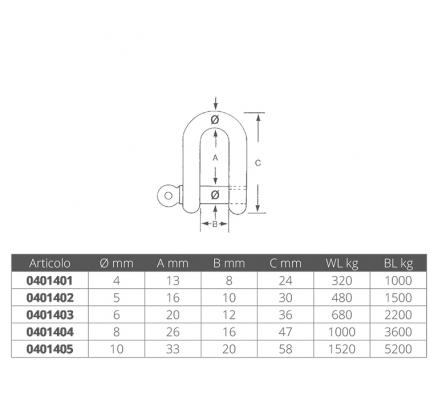 Wichard-FNI0401404-GRILLO INOX Ø MM.8-20